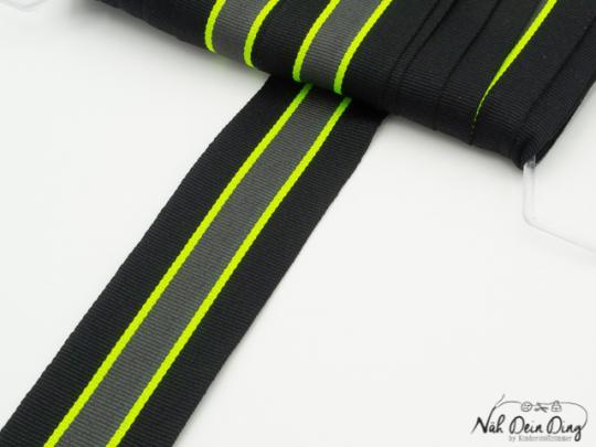 Ripsband gestreift, schwarz/neongrün /grau