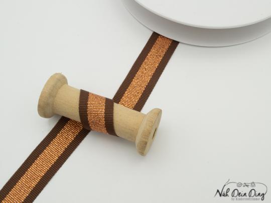 Ripsband gestreift, braun/kupfer