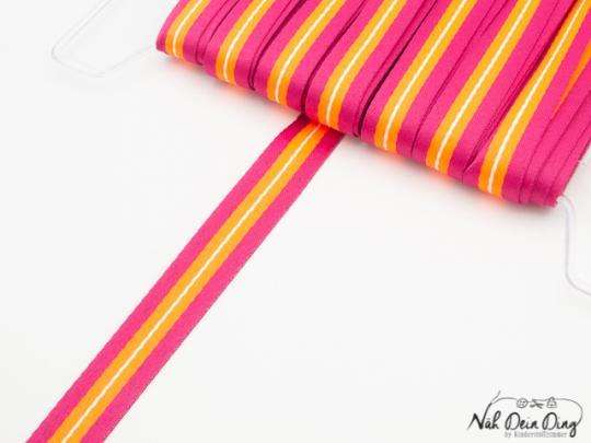Webband pink/orange gestreift 15 mm