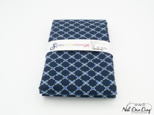 Baumwollstoff blau mit Ornament- muster